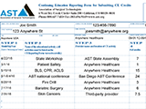 CE Reporting Form example